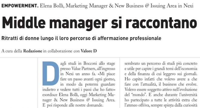 Middle manager si raccontano: Elena Bolli di Nexi