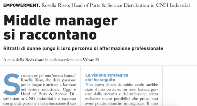 Middle manager si raccontano: Rosella Risso di CNH Industrial