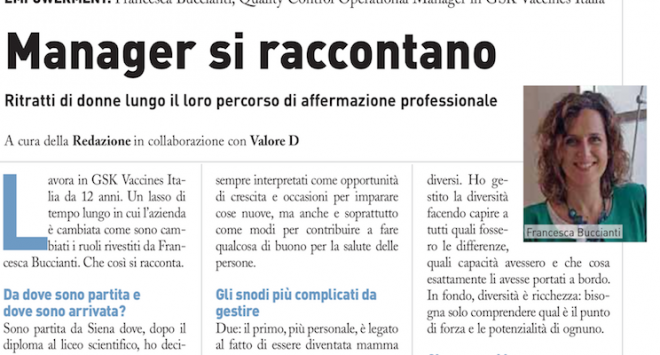 Middle manager si raccontano: Francesca Buccianti di GSK Vaccines Italia