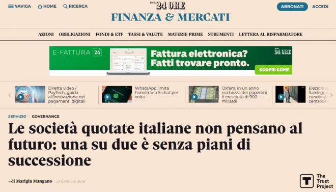 Le società quotate italiane non pensano al futuro: una su due è senza piani di successione