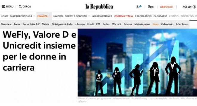WeFly, Valore D e Unicredit insieme per le donne in carriera