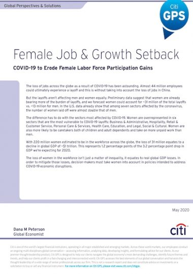 Female job & growth setback: Covid-19 to erode female labor force participations gains